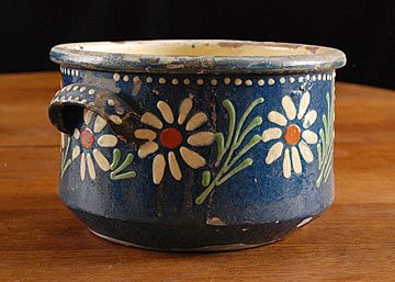 Folk Art Handpainted Ceramic Pot