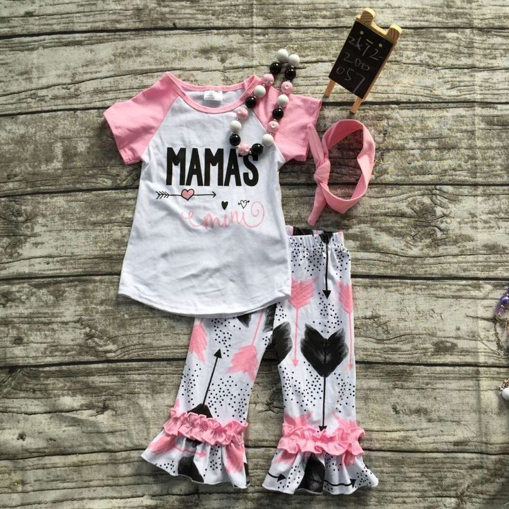 2016 summer cotton capri set cute toddler girl clothes girls boutique outfits MAMA'S MINI clothes with headband and necklace