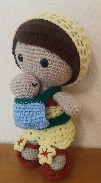 Here is Weebee heading out for a walk on an beautiful sunny Autumn morning. The sun is shining and the baby is sleeping close to her heart and all is well with the world!