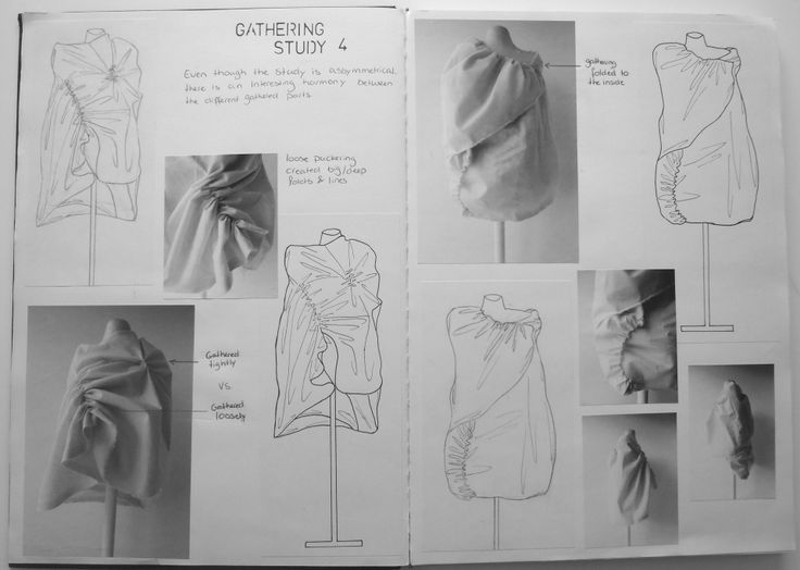 Fashion Sketchbook - exploring gathering & fabric manipulation techniques - fashion design & prototype development; fashion portfolio // Rosa Kramer