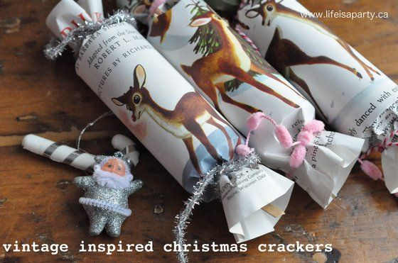 Vintage Inspired Christmas Crackers: Simple tutorial for making your own Christmas crackers out of inexpensive vintage Little Golden books -so adorable!