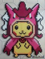 Pikachu in a Shiny Gyarados Hoodie by PerlerPixie