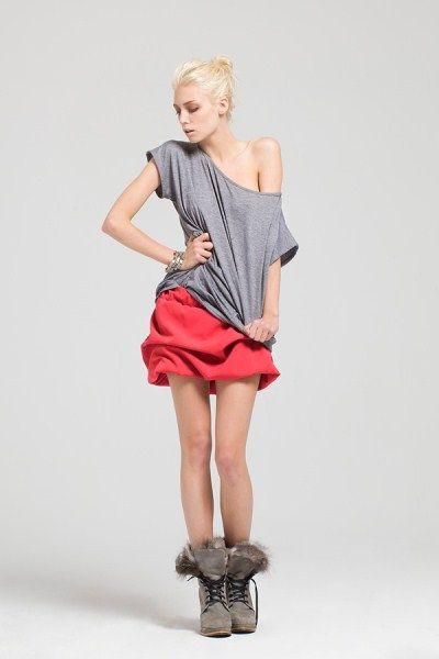 spódnica, red skirt www.joannawodzinska.pl