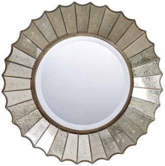Uttermost's Amberlyn Round Mirror, #08028 B. We loved using this in our Kerrie Kelly Design Lab Golden Elegance Powder Bath--it turned it into a jewelbox of a space!