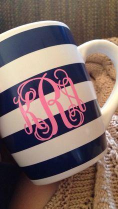 navy striped monogrammed mug