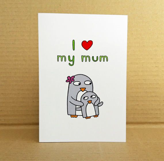Penguin Mother's Day Card  Mum's Penguin by penguinparadeshop