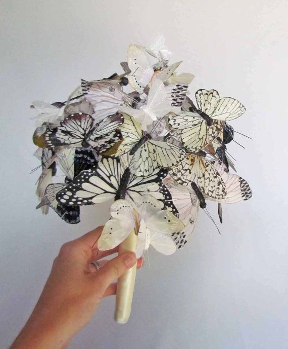 white ivory butterfly wedding bouquet by justanns on etsy