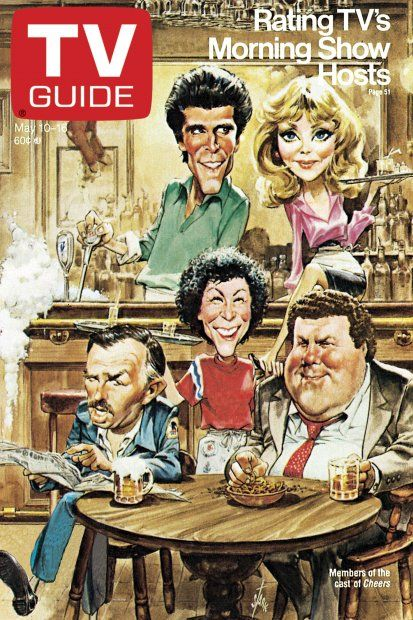 TV Guide May 10, 1986 - Ted Danson, Shelley Long, John Ratzenberger, Rhea Perlman and George Wendt of Cheers. Illustration by Bruce Stark.