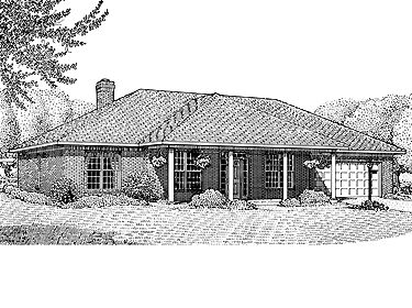 Hipped roof highlighted hwbdo13860 contemporary house for Hip roof house plans