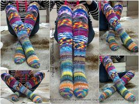 Allepolven räsykät (räsymattosukat, jämälankasukat) Kneesocks, handknitted socks... so colorful and happy :) Original Design© Handmade By Minna ♥