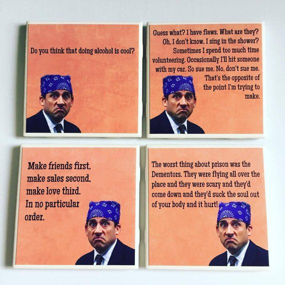 Prison Mike Coasters The Office Set Of 4 Michael Scott Etsy Office Humor Office Memes Funny Memes