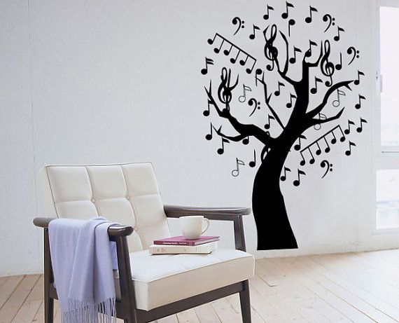 Music Tree Wall Sticker bedroom kitchen art vinyl decal Transfer Graphic Mural via Etsy