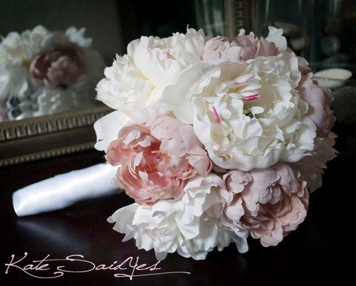 blush and teal bridal bouqet | Wedding Bouquet Peony Bouquet Ivory and Blush Pink Peony Silk Bridal ...