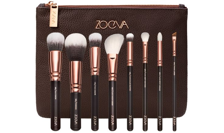 Makeup Pinselset von ZOEVA: aus Echthaar-Synthetik-Mix und veganem Taklon-Haar | 8 Makeup-Pinsel + praktische Pinseltasche | Rose Golden Design | Jetzt online bestellen! #ZOEVA