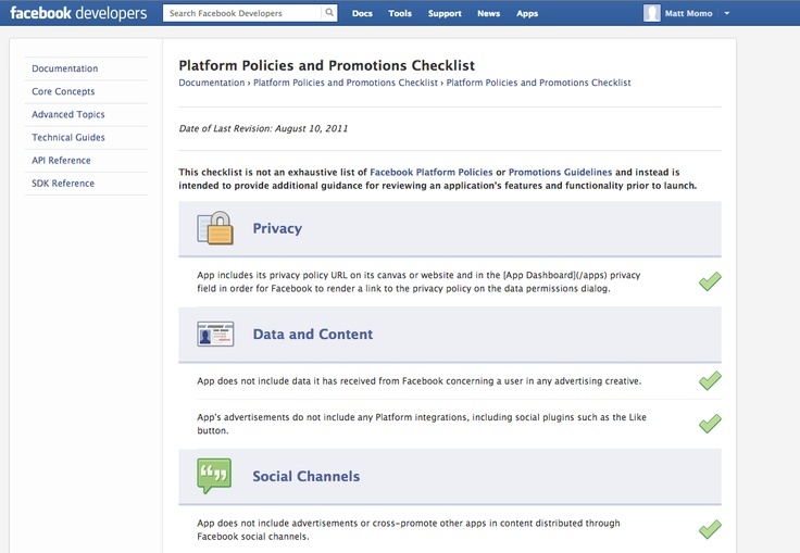 Facebook | Platform Policies and Promotions Checklist