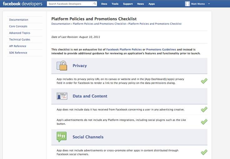 Facebook   Platform Policies and Promotions Checklist