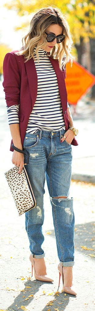 Burgundy blazer with white and black stripe turtleneck with denim boyfriend jeans and nude pointy heels