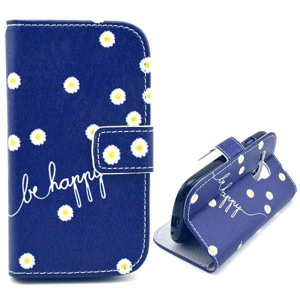 Be Happy Quote bookcase voor Samsung Galaxy S3 mini
