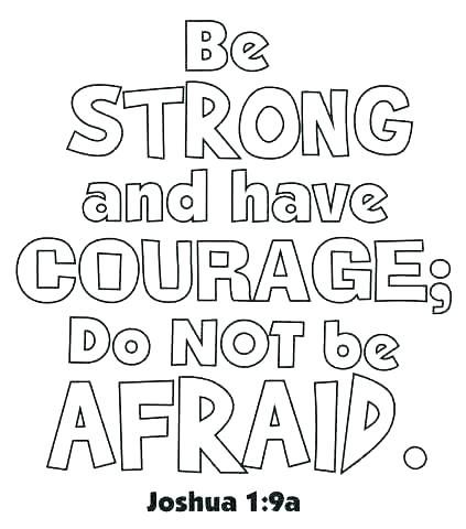 Be Strong And Courageous Colouring Wall Art