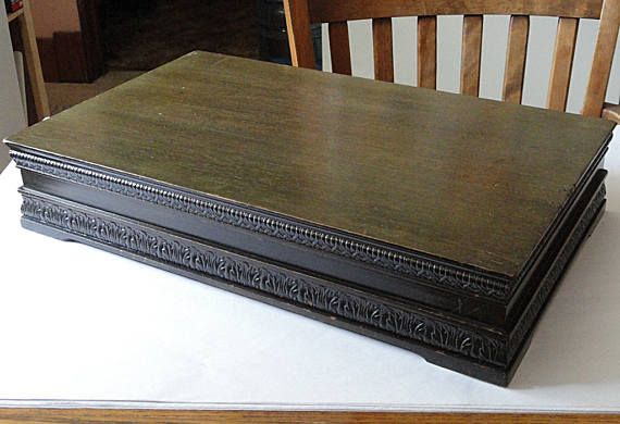 Unusual Vintage Art Deco Carved Wood Silverware Flatware Footed Storage Box  Chest Case With Midnight Blue Anti Tarnish Lining
