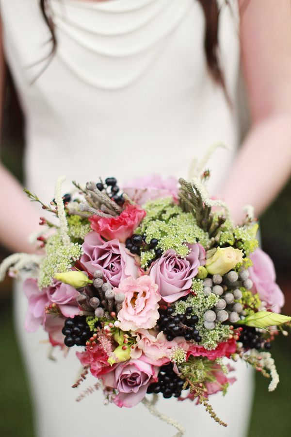 purple, pink and green bouquet