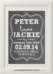 White Chalk Wedding Print by Bespoke Moments. Worldwide Shipping Available.