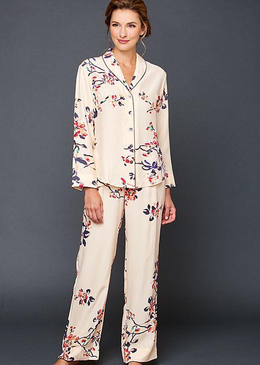 Natalya Silk Print Pajamas - Women's Silk Pajamas, Print Silk PJs