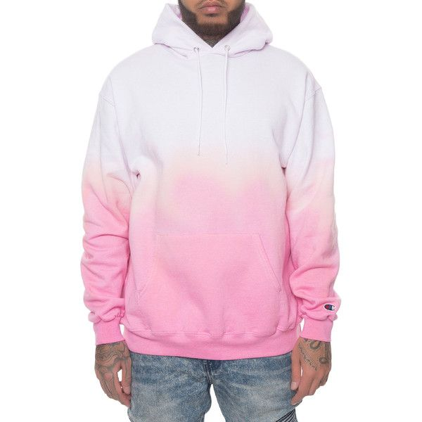 OCD Cleaners The Custom Dip Dye Champion Eco Hoodie in Pink ($85) ❤ liked on Polyvore featuring men's fashion, men's clothing, men's hoodies, bleach pink, mens zip up hoodies, mens zipper hoodies, mens hoodies and mens sweatshirts and hoodies
