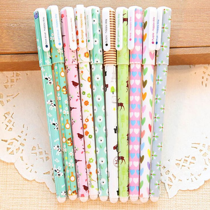 10 pcs/lot cartoon floral gel pen kawaii color pens papelaria stationery material escolar school supplies