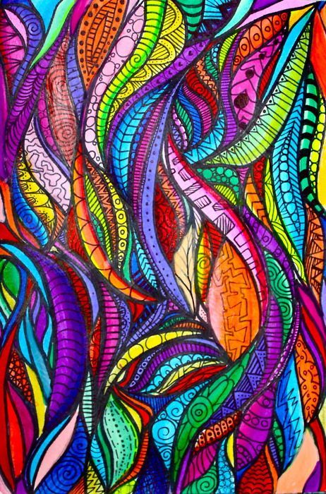 make a feathery or wavy design, fill in with different patterns, paint with watercolors - maybe paint first....