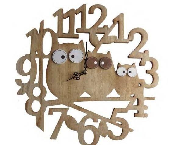 Owl wooden clock
