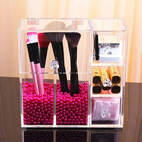 FLYMEI Dust Free Clear Acrylic Makeup Organizer Makeup Brush Holder Jewelry Cosmetic Organizer Display Box With Free Glossy Rosy Pearl *** Check out this great product. Note:It is Affiliate Link to Amazon.