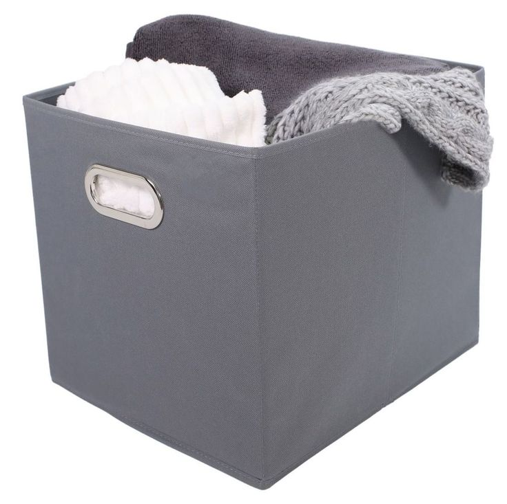 Tidy Living - Fabric Bin Gray - Household Organizer Cube Storage Container #TidyLiving