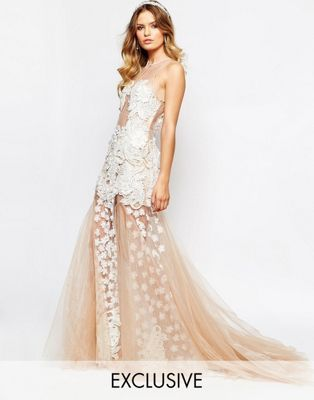 A Star Is Born Bridal Luxe Floral Applique Maxi Dress With Full 3D Applique Skirt