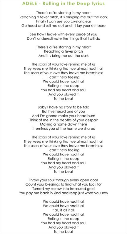Rolling in the Deep | Love the lyrics | Pinterest | Adele ... Rolling In The Deep Lyrics