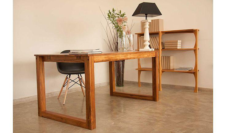 Mesa de escritorio vintage nilo material madera de teca - Mesa escritorio madera ...