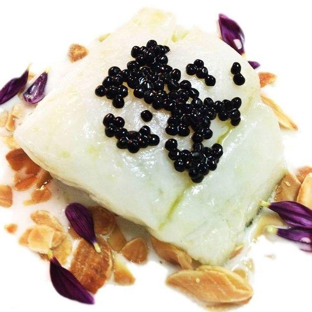 Codfish & Black truffle on coconut milk stoke