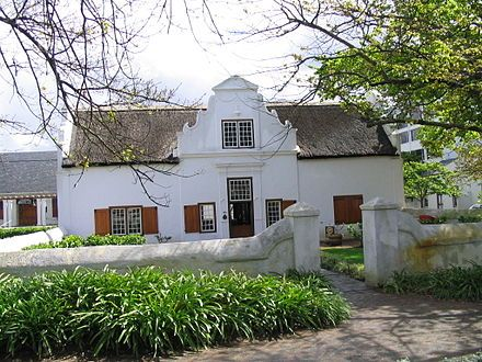 Cape Dutch architecture is a traditional Afrikaner architectural style found mostly in the Western Cape of South Africa. The style was prominent in the early days (17th century) of the Cape Colony, and the name derives from the fact that the initial settlers of the Cape were primarily Dutch.