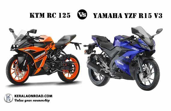 Compare Yamaha Yzf R15 V3 Vs Ktm Rc 125 Vs Price Mileage