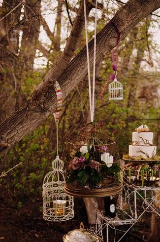 Hanging bird cage decorations - holding candles, flowers, model birds, whatever you can think of - would look stunning either indoors or out.