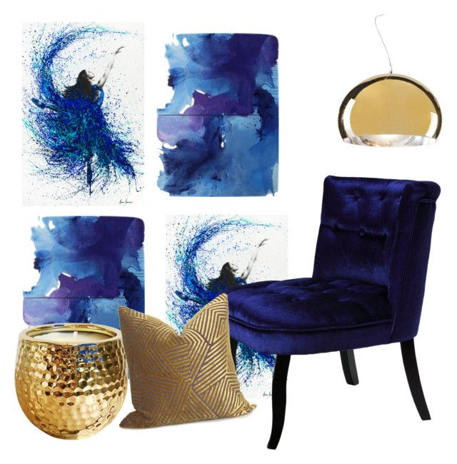 """""""Blue meets gold in the hallway"""" by inauniqe on Polyvore featuring interior, interiors, interior design, home, home decor, interior decorating, NOVICA, Kartell and Cortesi Home"""