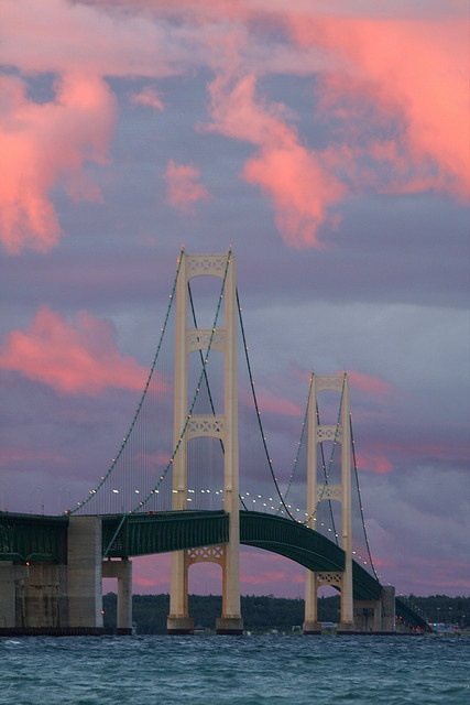 The Mackinac Bridge - a suspension bridge spanning the Straits of Mackinac to connect the Upper and Lower peninsulas of the U.S. state of Michigan. Opened in 1957.
