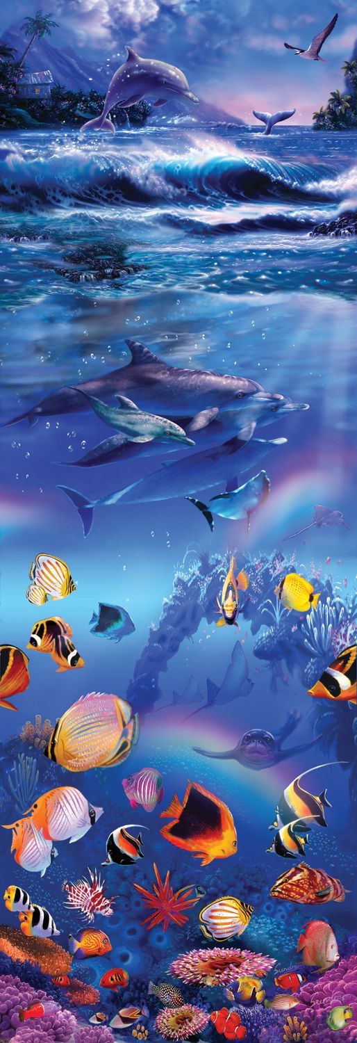 Rainbow Dolphins - 500 piece jigsaw puzzle. Finished size: 12 x 36. Artist: Steve Sundram. Released January 2013.Sunsout puzzles are 100% made in the USAEco-friendly soy-based inksRecycled boardsNot sold in mass-market stores
