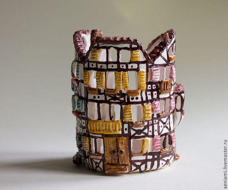 """Купить Подсвечник """"Домик"""" - фарфор, подсвечник, керамический подсвечник, миниатюра, рождество, рождественский подарок"""