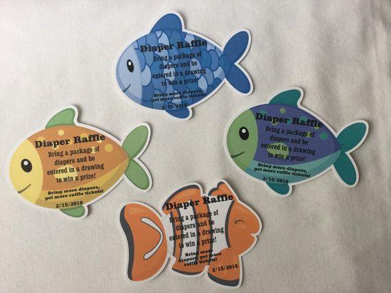 Unique Fish Theme Rainbow Fish Baby Shower Invitation Diaper