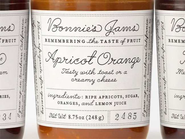 simple and stunning 1930's style typography- Bonnies jams