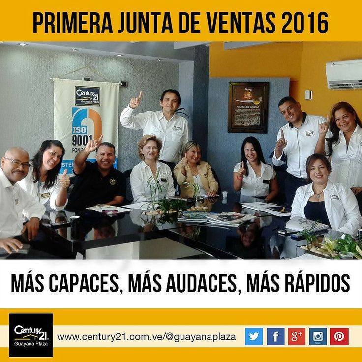 Nuestra Primera Junta de Ventas 2016. Iniciamos el año con las mejores energías. Más Capaces Más Audaces Más Rápidos  #Century21 #BienesRaíces #inmobiliaria #compra #venta #alquiler #oficina #local #casa #apartamento #terreno #pzo #pzocity #C21 #Venezuela