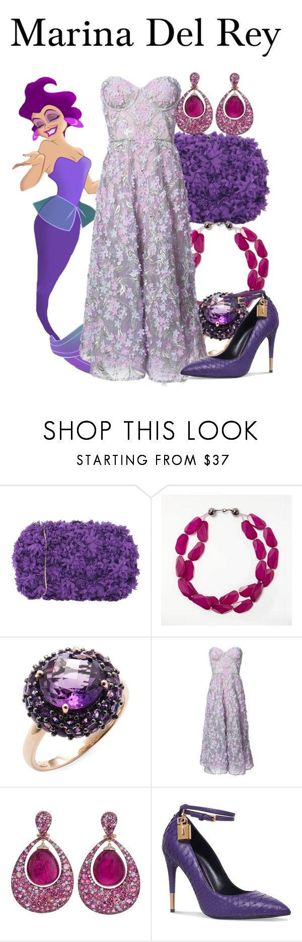 """""""Marina Del Rey"""" by megan-vanwinkle ❤ liked on Polyvore featuring Chiara P, John Lewis, Effy Jewelry, Notte by Marchesa, Margot McKinney, Tom Ford, disney and polyvoreeditorial"""
