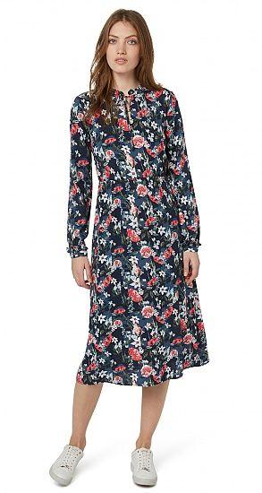 Kleid mit floralem Muster für Frauen (gemustert, langärmlig mit Rundhalsausschnitt und V-Öffnung mit Band zu schließen) - TOM TAILOR