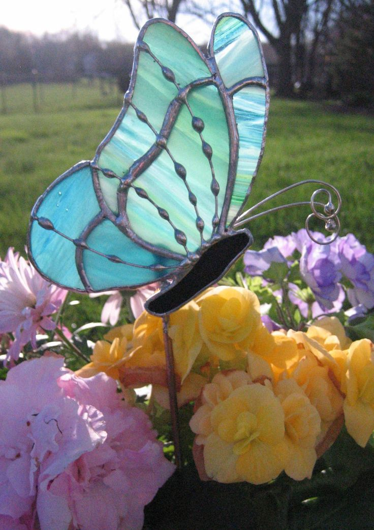 Lime, Aqua and Blue Stained Glass Butterfly Garden Stake, Plant Stake, Garden Decoration, Tiffany Butterfly by GlassPizazz on Etsy